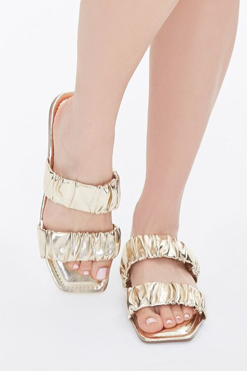 Metallic Ruched Sandals, image 4