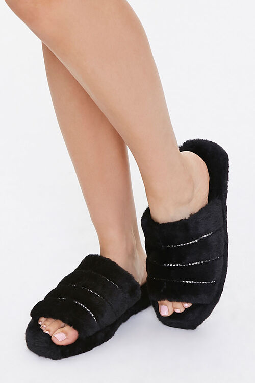 Plush Rhinestone Slippers, image 1