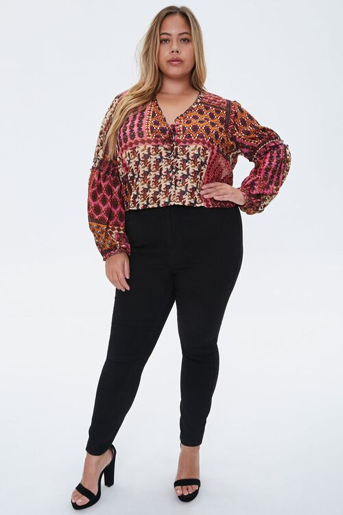 Plus Size Ornate Lace-Up Top, image 4