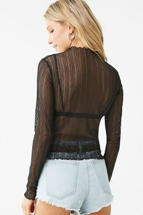 Sheer Striped Lace Top, image 3