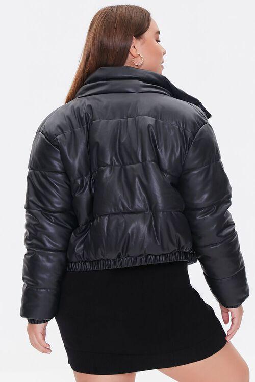 BLACK Plus Size Faux Leather Puffer Jacket, image 3
