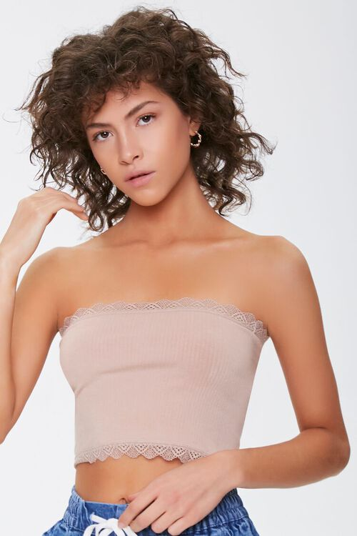 Seamless Crochet-Trim Tube Top, image 1