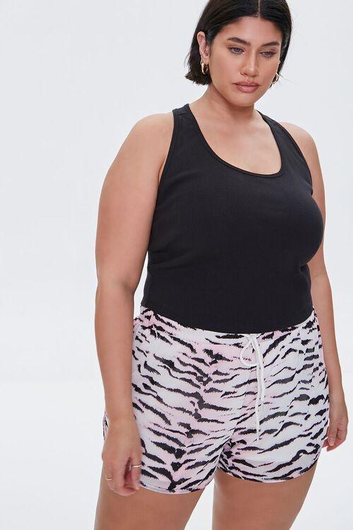 Plus Size Active Tiger Print Shorts, image 1