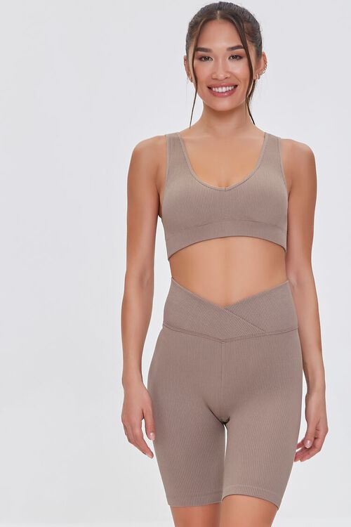 TAUPE Active Seamless Notched Biker Shorts, image 1