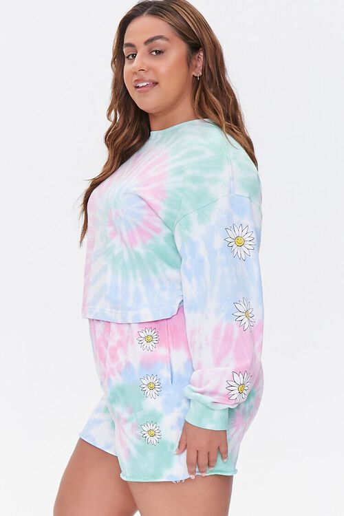 Plus Size Daisy Graphic Tie-Dye Pullover, image 2