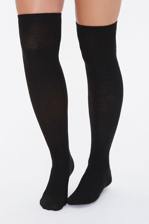 Cable Knit Over-the-Knee Socks, image 1