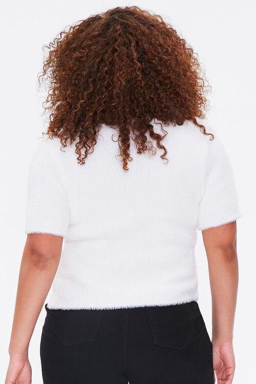 Plus Size Fuzzy Knit Cardigan Sweater, image 3