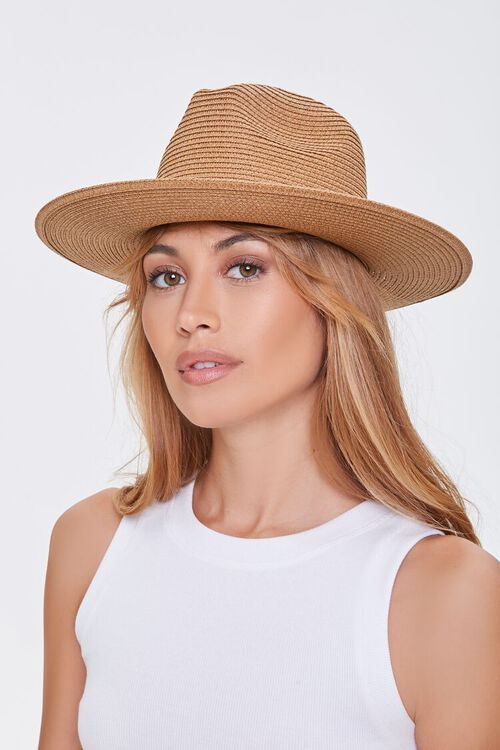 NATURAL/BROWN Faux Straw Buckled Fedora, image 2