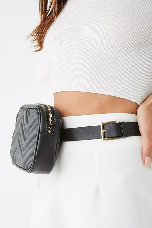 Faux Leather Quilted Belt Bag, image 2
