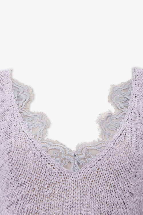 Ribbed Lace-Trim Sweater, image 2