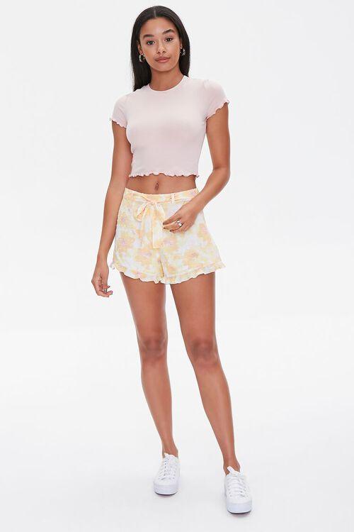 YELLOW/MULTI Floral Print Ruffle-Trim Shorts, image 5