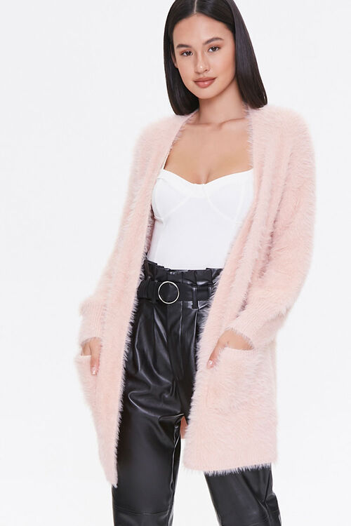 Fuzzy Knit Open-Front Cardigan, image 5