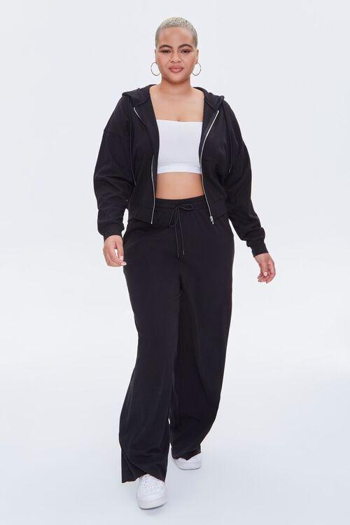 BLACK Plus Size Zip-Up Hoodie, image 5
