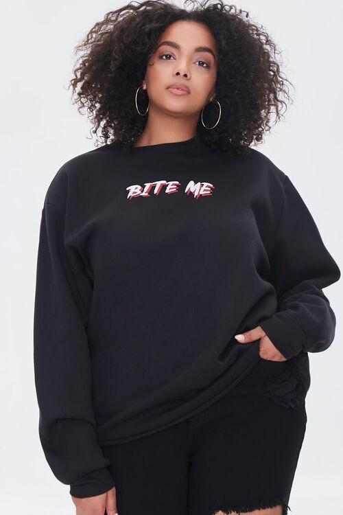 BLACK/MULTI Plus Size Bite Me Vampire Pullover, image 2