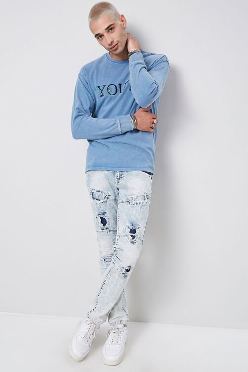 Distressed Panel Slim-Fit Jeans, image 4