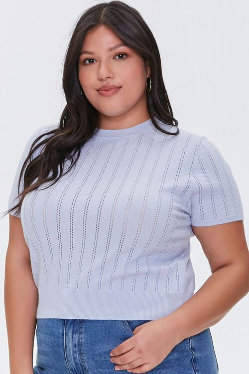 Plus Size Pointelle Sweater-Knit Tee, image 1