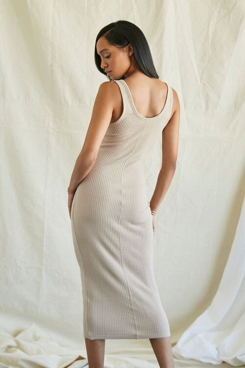 TAUPE Ribbed Knit Tank Top Dress, image 4
