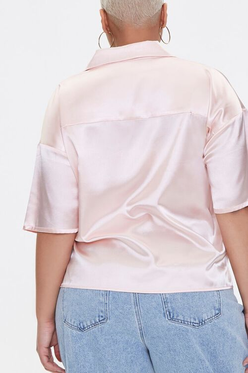 Plus Size Cropped Satin Shirt, image 3