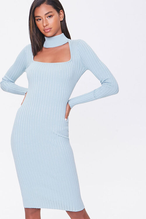 Ribbed Mock Neck Sweater Dress, image 1