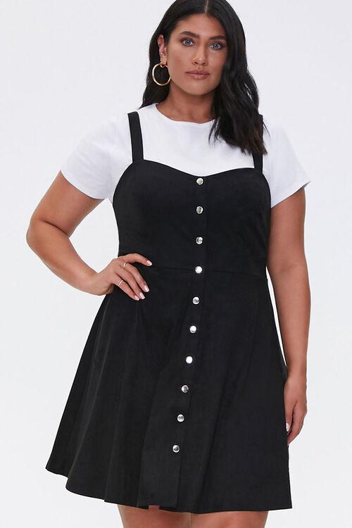 Plus Size Pinafore Mini Dress, image 1