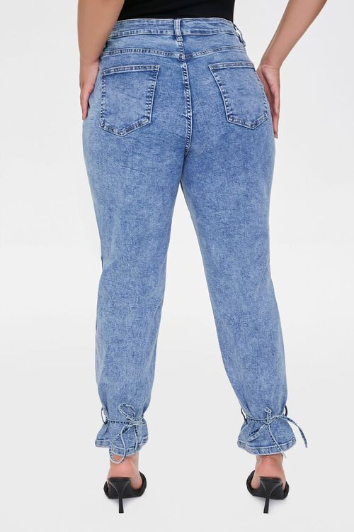 Plus Size Denim Self-Tie Joggers, image 4