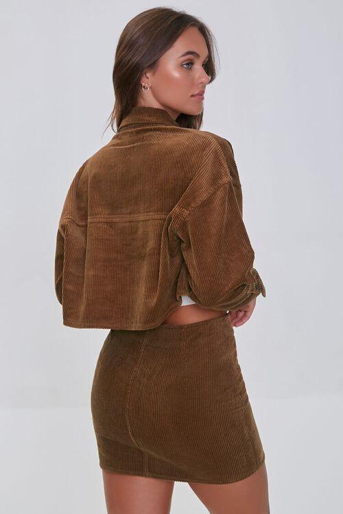 BROWN Corduroy Shirt & Mini Skirt Set, image 3