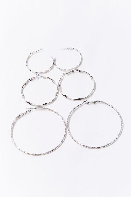 SILVER Textured Hoop Earring Set, image 2