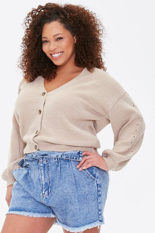 Plus Size Pointelle Cardigan Sweater, image 1