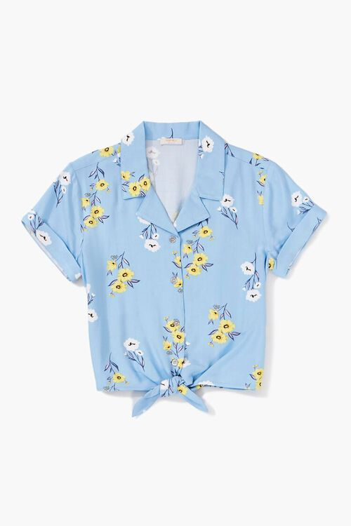 Girls Knotted Floral Shirt (Kids), image 1
