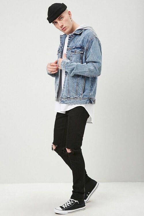 MEDIUM DENIM/GREY Hooded Denim Jacket, image 4