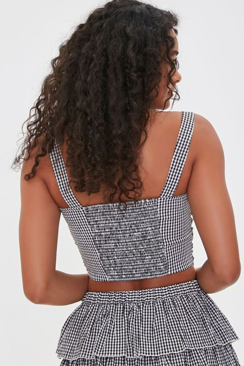 Gingham Ruched Sweetheart  Crop Top, image 3