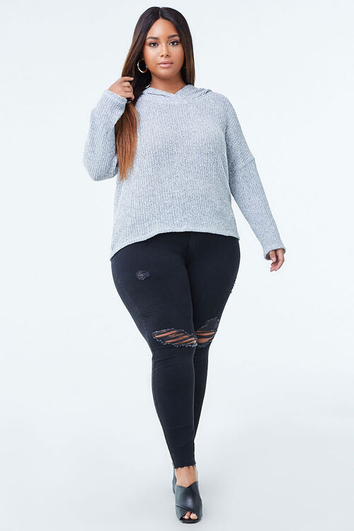 Plus Size Hooded Marled Top, image 4