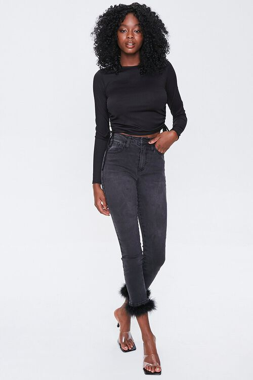 Feathered-Trim Ankle Jeans, image 5