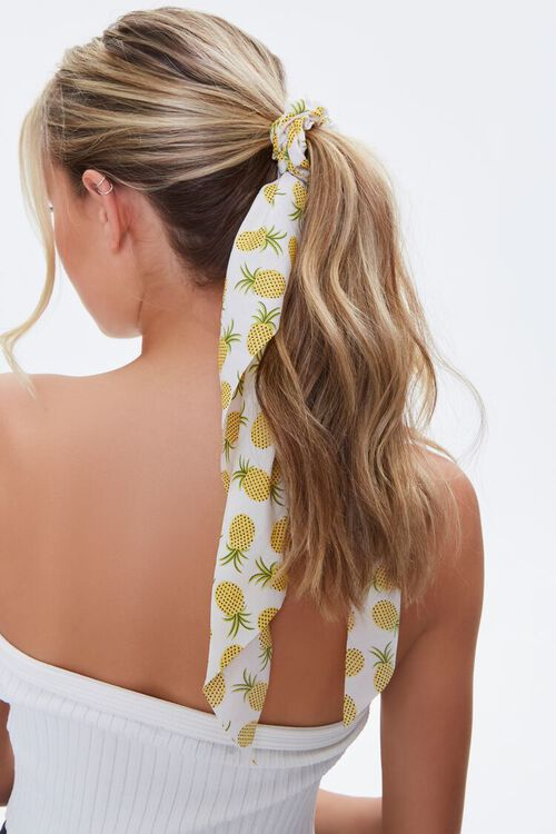 Pineapple Print Bow Scrunchie, image 1