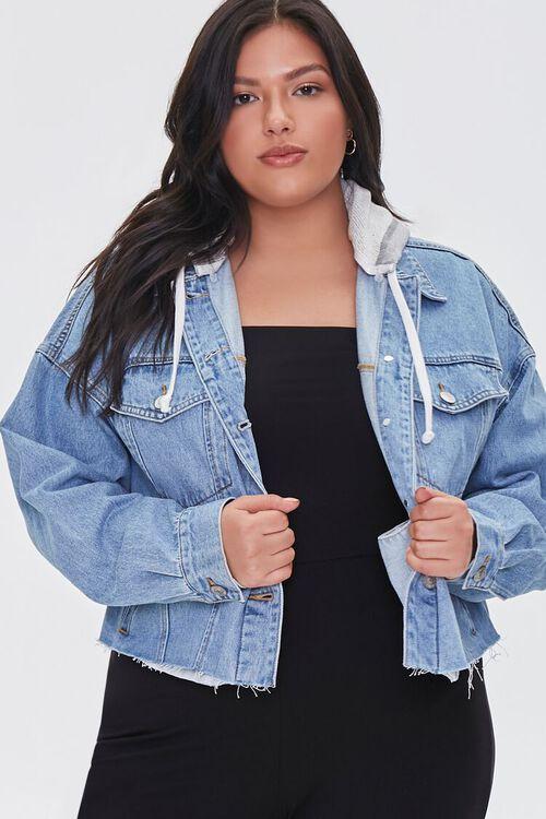 Plus Size Hooded Denim Jacket, image 1
