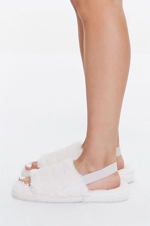 Faux Fur Open-Toe Indoor Slippers, image 2