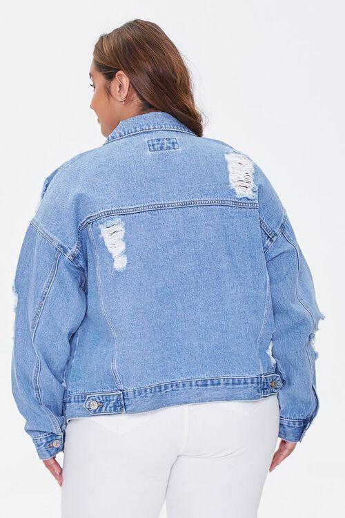 MEDIUM DENIM Plus Size Distressed Denim Jacket, image 3