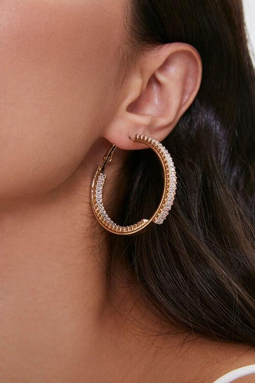 Faux Gem Hoop Earrings, image 1