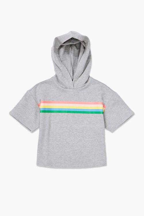 Girls Rainbow-Striped Hoodie (Kids), image 1