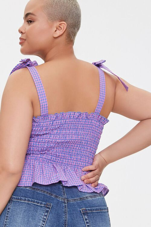 Plus Size Gingham Tie-Strap Crop Top, image 3