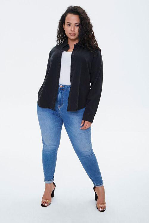 WASHED BLACK Plus Size Cotton Curved Shirt, image 4
