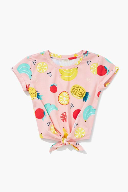 Girls Fruit Print Knotted Tee (Kids), image 3