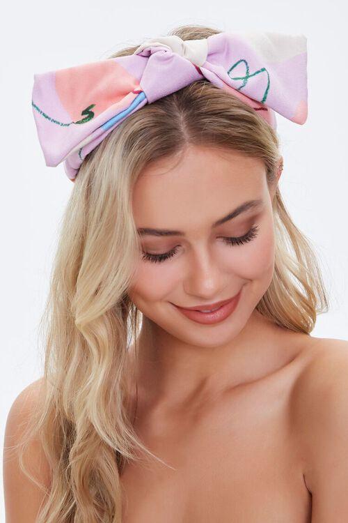 Peach Print Bow Headwrap, image 1
