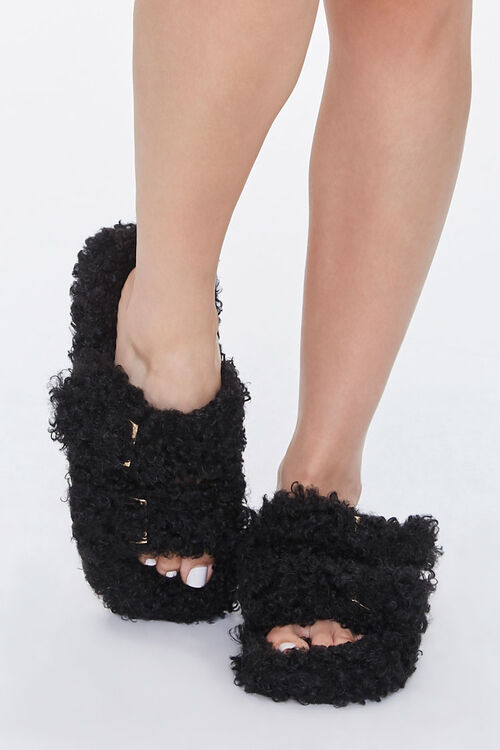 Faux Sheepskin Buckled Slippers, image 4