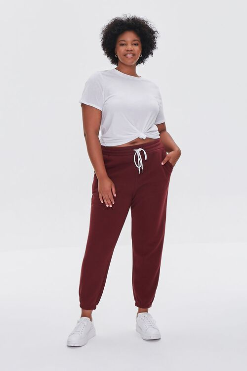 WINE Plus Size French Terry Joggers, image 5
