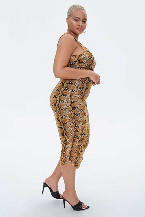 MUSTARD/MULTI Plus Size Snake Print Dress, image 2