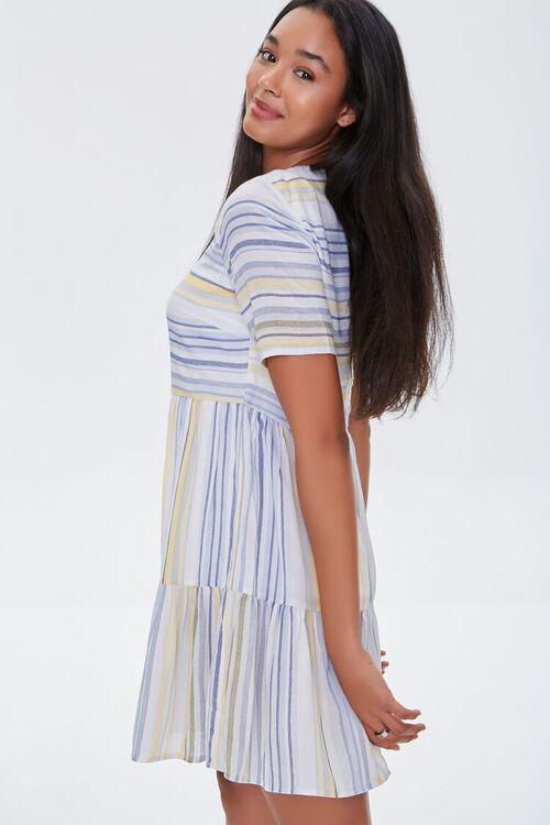Striped Flounce-Hem Mini Dress, image 2