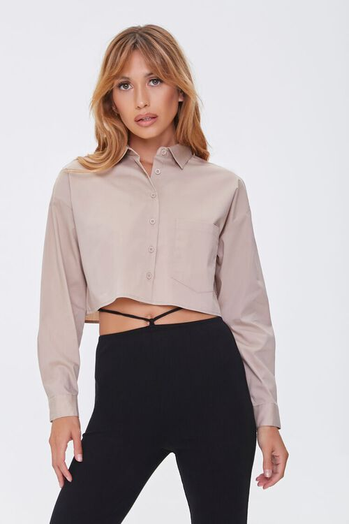 Cropped Button-Front Shirt, image 1