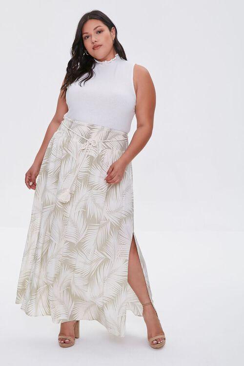 Plus Size Tropical Leaf M-Slit Skirt, image 1