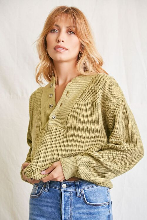 LIGHT OLIVE Purl-Yoke Buttoned Sweater, image 1